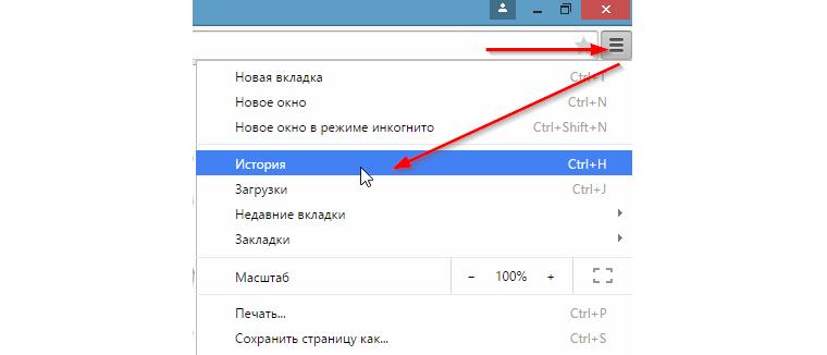 Открытие истории посещений в браузере Google Chrome