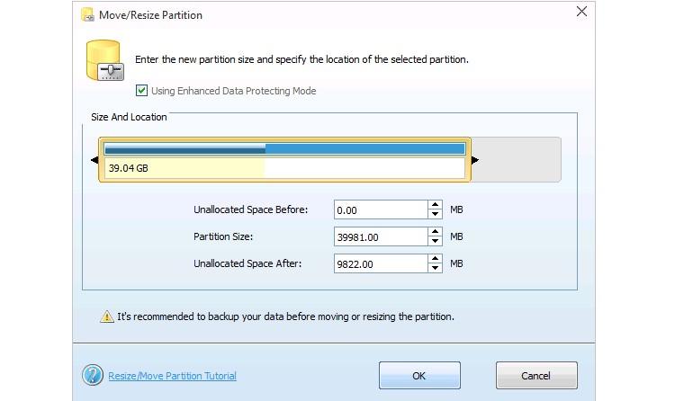 Определение объема системного диска в MiniTool Partition Wizard Free