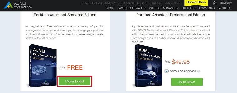 Кнопка «Download» в блоке «Partition Assistant Standard Edition»